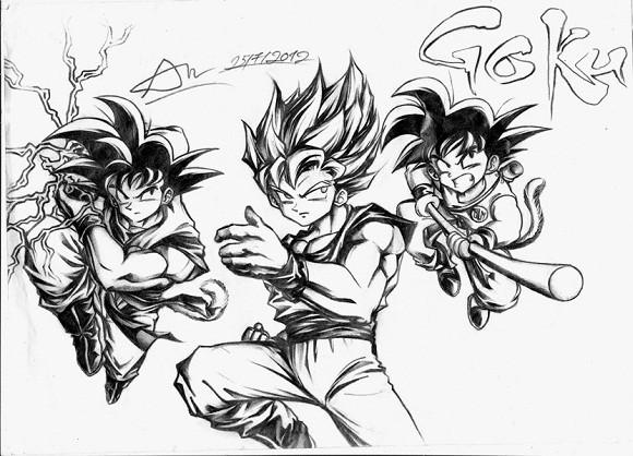 ảnh vẽ bút chì anime songoku