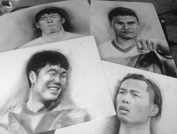 ảnh vẽ bút chì cầu thủ bóng đá Việt Nam