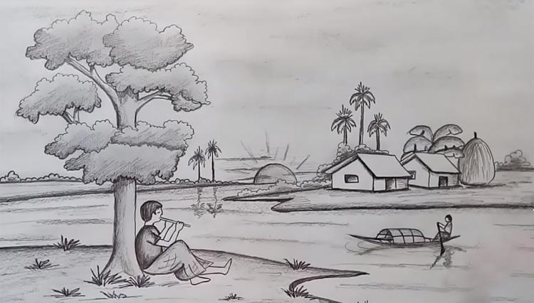 Bức tranh vẽ phong cảnh quê hương bằng bút chì