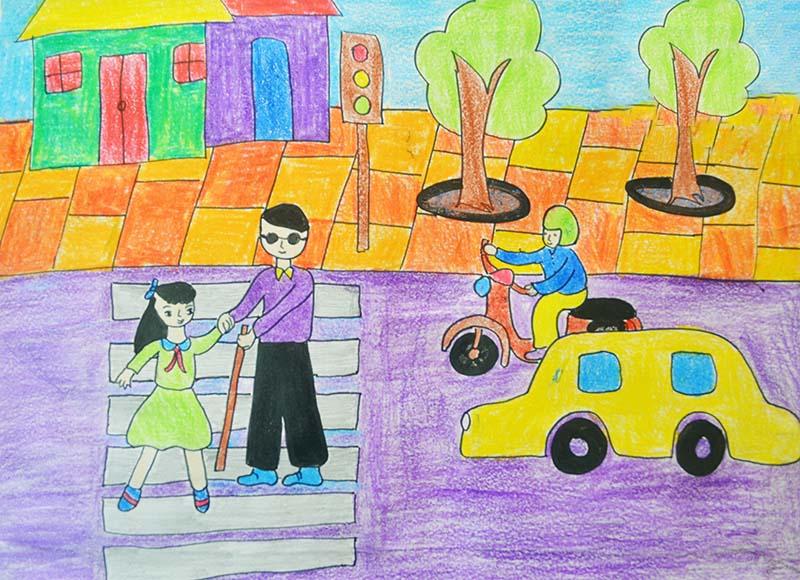 ảnh vẽ đề tài an toàn giao thông bé giúp người mù qua đường