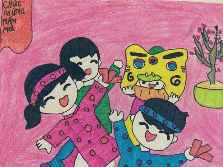 bức tranh vẽ chủ đề chúc mừng năm mới của trẻ em