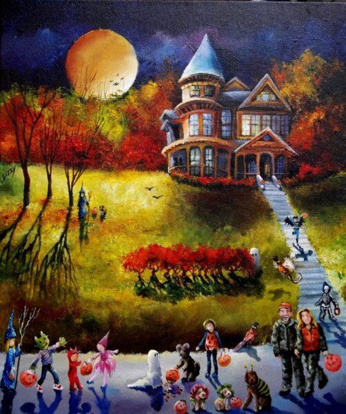 bức tranh vẽ lễ hội Halloween đẹp rùng rợn