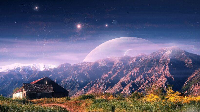 cảnh đẹp 3D căn nhà trên núi và bầu trời thiên hà vũ trụ