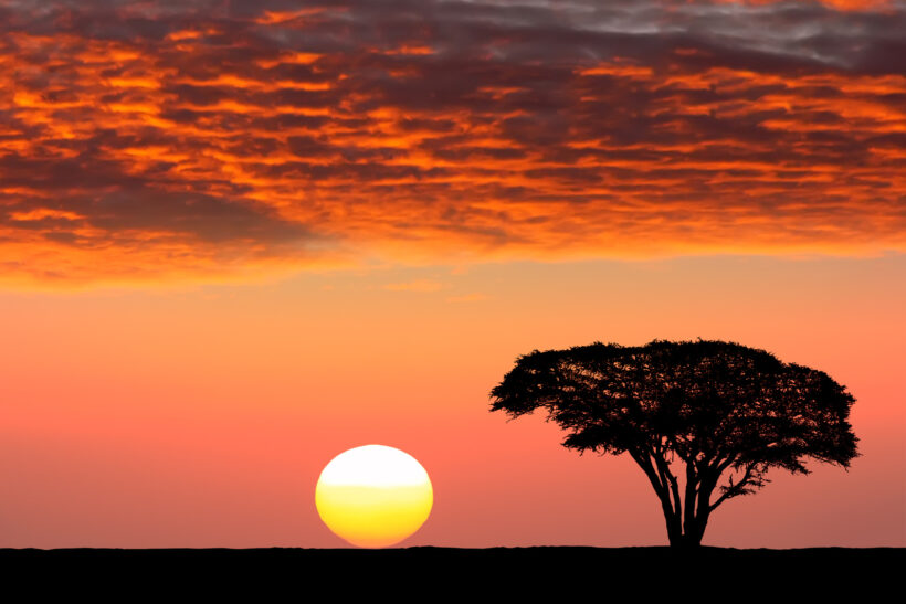 cảnh đẹp hoàng hôn tại sa mạc