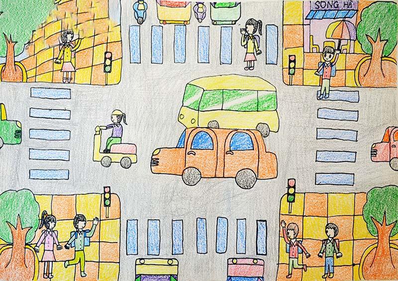 đề tài vẽ tranh giao thông đơn giản đẹp cho học sinh