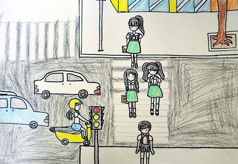 hình ảnh vẽ đề tài giao thông cho học sinh