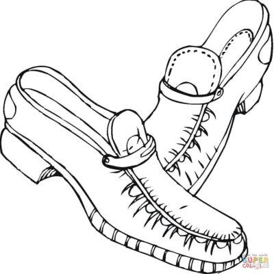 hình tập tô màu đôi giày