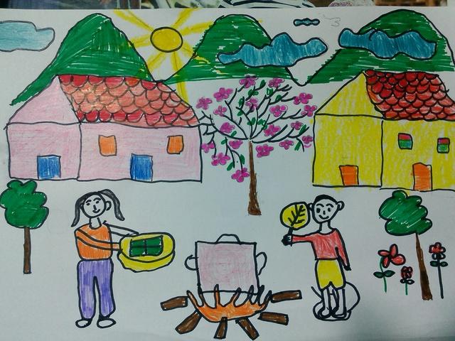hình vẽ chủ đề bánh chưng tết đơn giản của học sinh