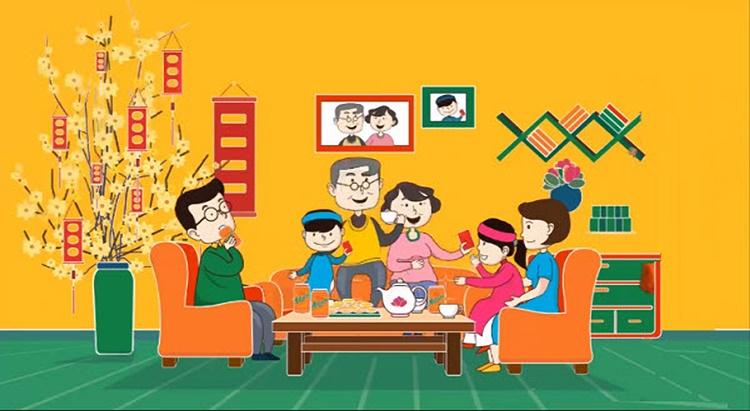 hình vẽ chủ đề gia đình ngày tết