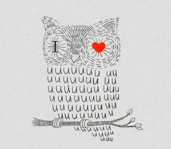 hình vẽ cú mèo dễ thương i love you
