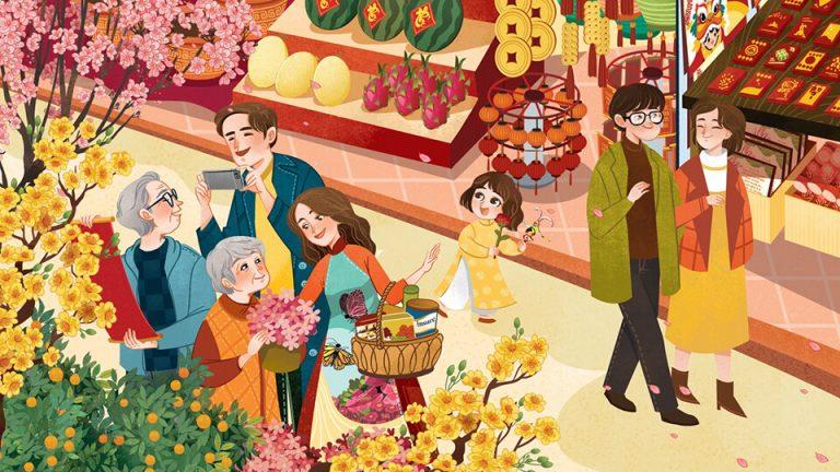 hình vẽ cùng cha mẹ đi chợ sắm tết