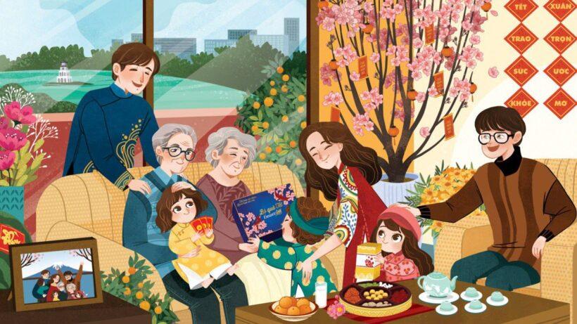 hình vẽ đề tài gia đình quây quần bên nhau ngày tết