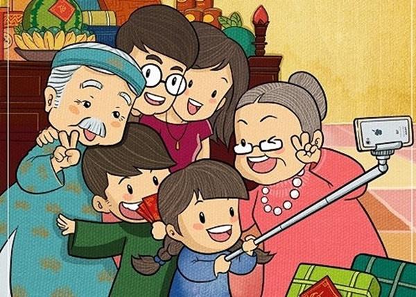 hình vẽ đề tài gia đình vui vẻ chụp ảnh