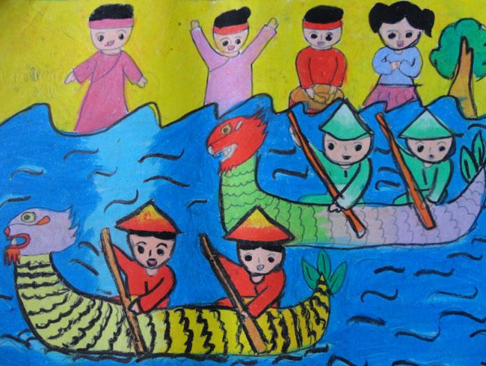 hình vẽ đề tài lễ hội đua thuyền đơn giản đẹp dễ vẽ