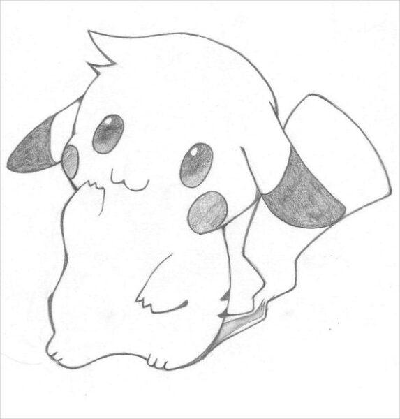 hình vẽ dễ thương pikachu bằng bút chì