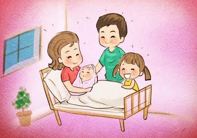 hình vẽ gia đình chào đón em bé
