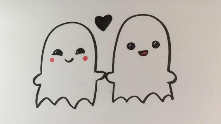 hình vẽ hai hồn ma đang yêu cute