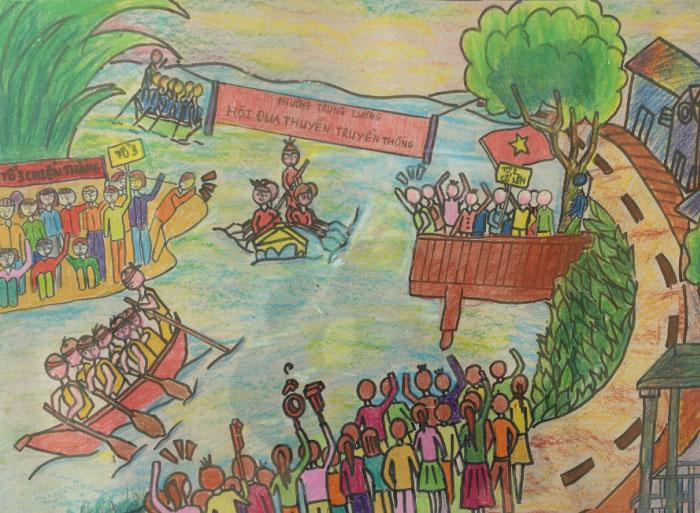 hình vẽ lễ hội đua thuyền