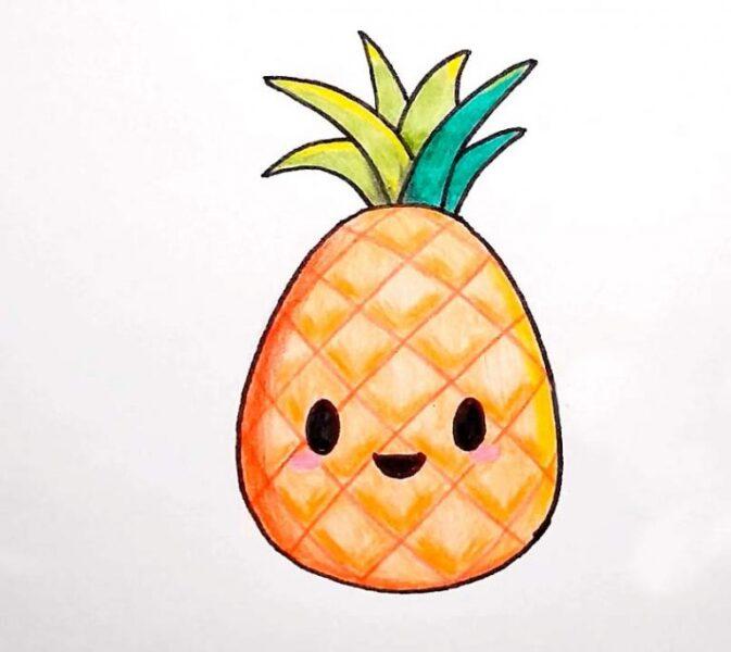 hình vẽ trái dứa cute