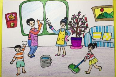 hình vẽ tranh vẽ đề tài gia đình dọn nhà đón tết