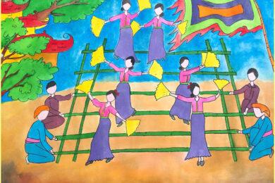 hình vẽ tranh vẽ đề tài lễ hội đẹp