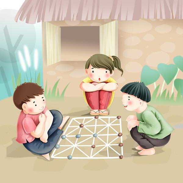 hình vẽ về trò chơi dân gian đánh cờ