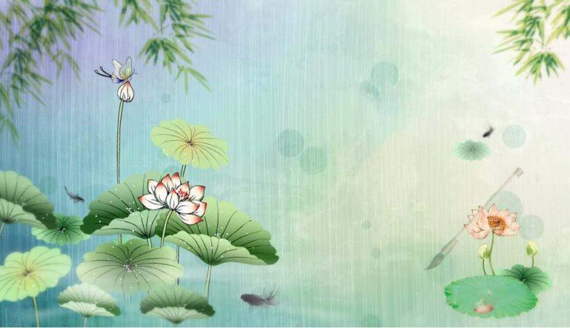 mẫu tranh tường chuồn chuồn và ao sen