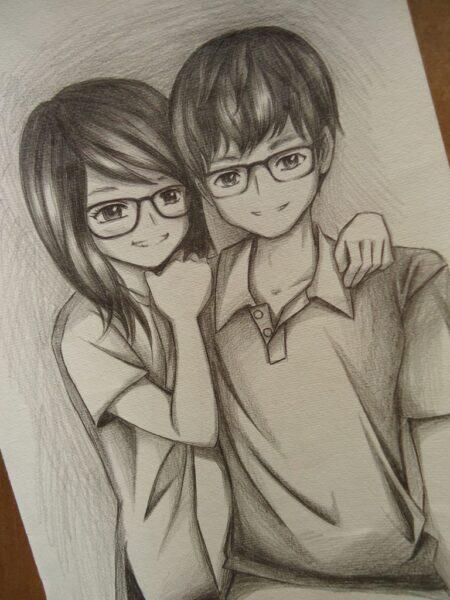 tranh ảnh vẽ bút chì anime đẹp