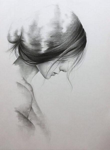 tranh ảnh vẽ bút chì girl xinh