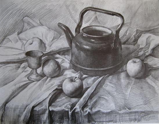 tranh ảnh vẽ bút chì mẫu vật cái siêu quả táo trên bàn