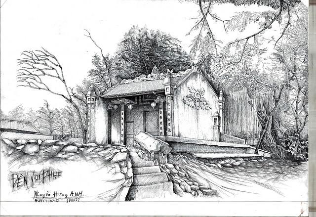 tranh ảnh vẽ phong cảnh bút chì