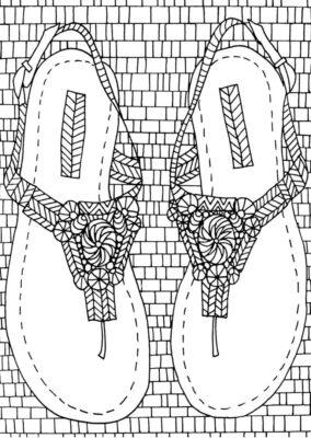 Tranh tô màu đôi dép đẹp để bé học tập tô (13)