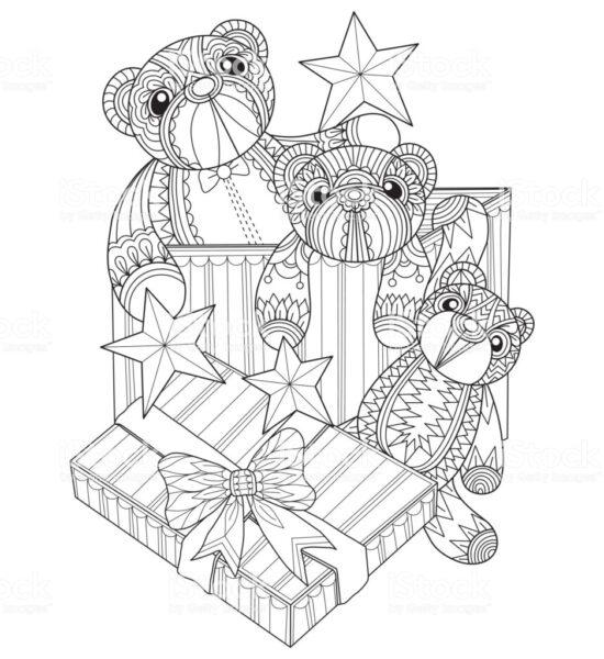 Tranh tô màu hộp quà đơn giản cho bé (1)