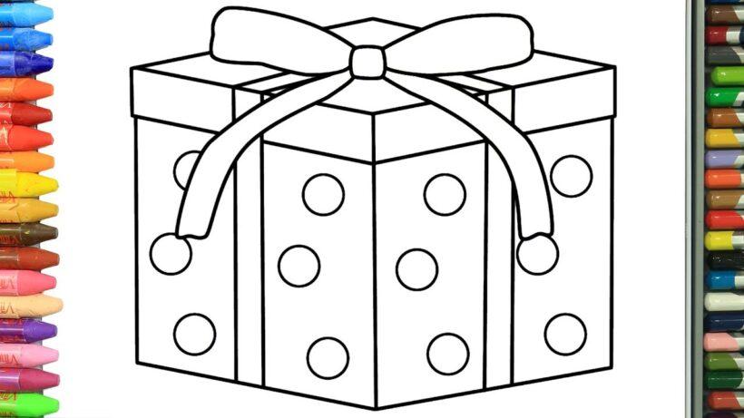 Tranh tô màu hộp quà đơn giản cho bé (3)