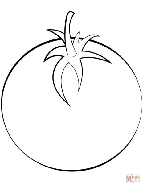 tranh tô màu quả cà chua đơn giản
