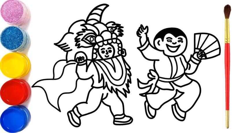 tranh tô màu trung thu múa lân cho bé