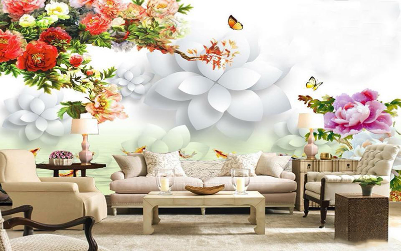 tranh tường 3D đẹp nghệ thuật cho phòng khách