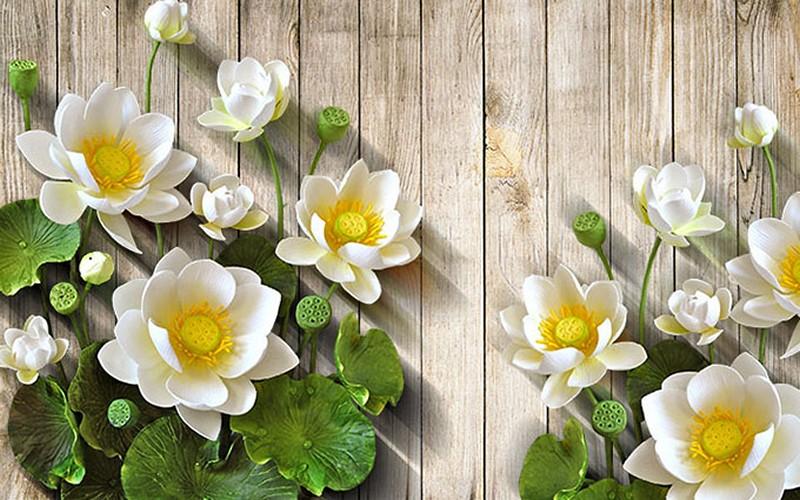 tranh tường 3D hoa sen trắng tuyệt đẹp
