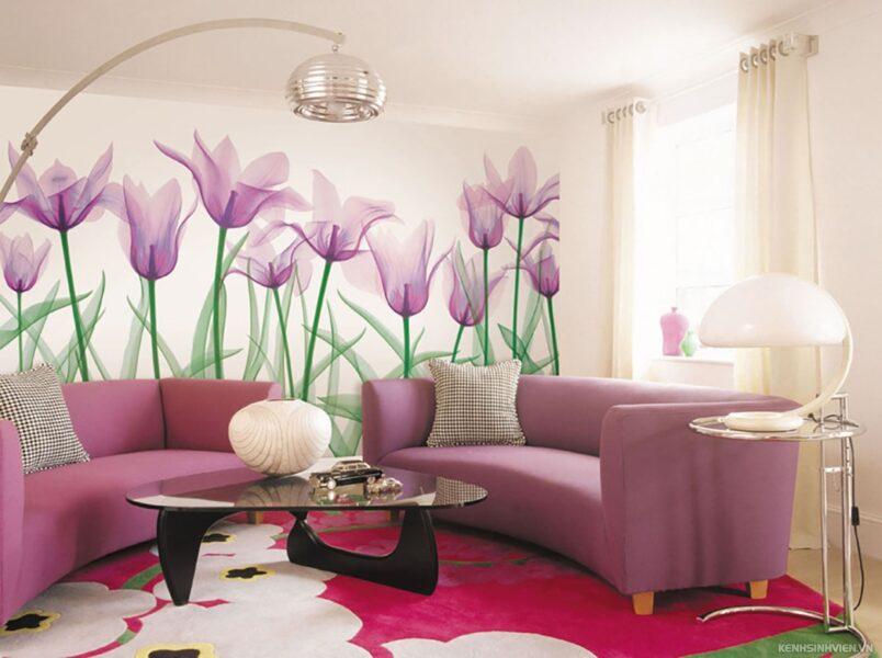 tranh tường 3D hoa tulip
