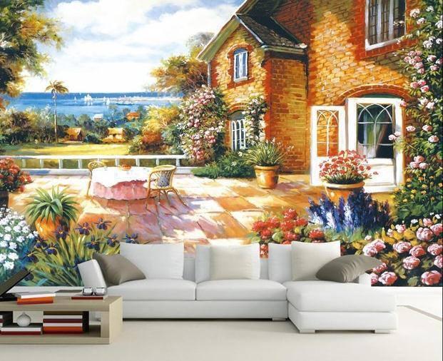 tranh tường không gian cổ tích đẹp lãng mạn
