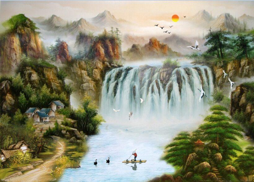 tranh tường phong cảnh núi rừng như phim kiếm hiệp