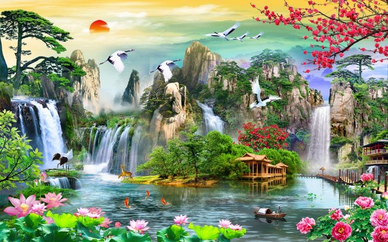 tranh tường phong cảnh thiên nhiên tuyệt đẹp