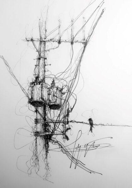 tranh vẽ bút chì cột điện và dây điện