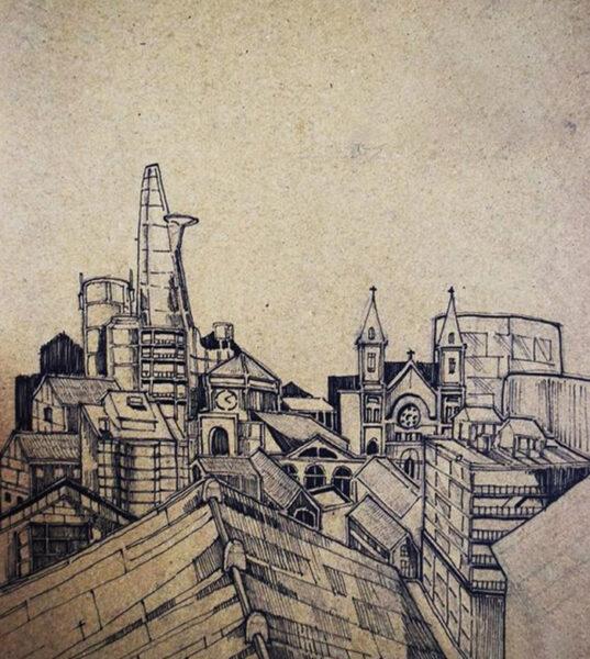 tranh vẽ bút chì một góc thành phố