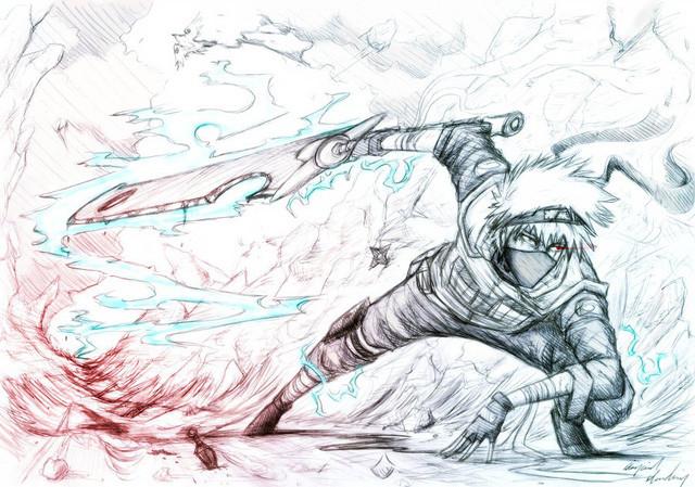 tranh vẽ bút chì ninja truyện naruto