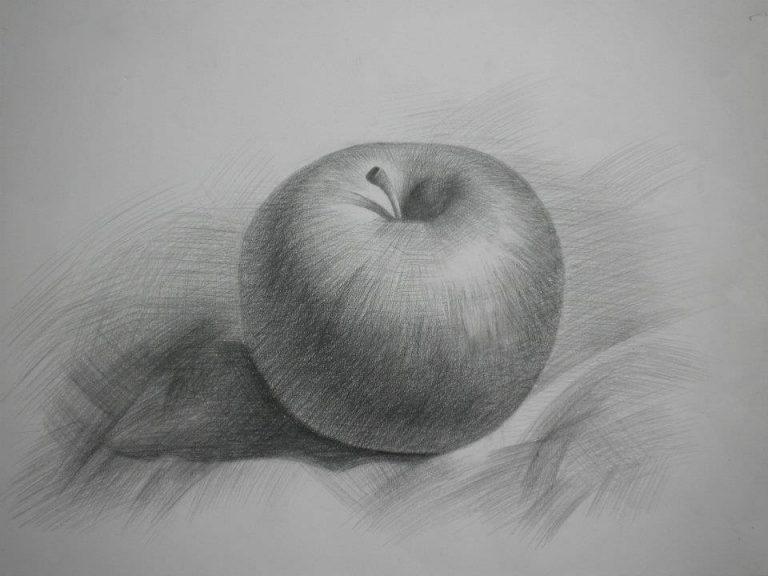 tranh vẽ bút chì quả táo