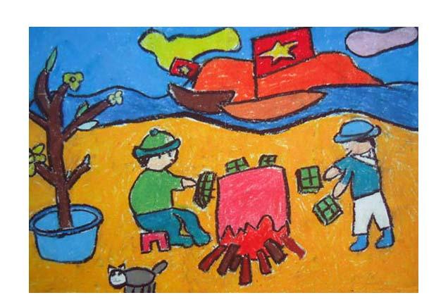 tranh vẽ các chú bộ đội chất bánh chưng ngoài đảo xa