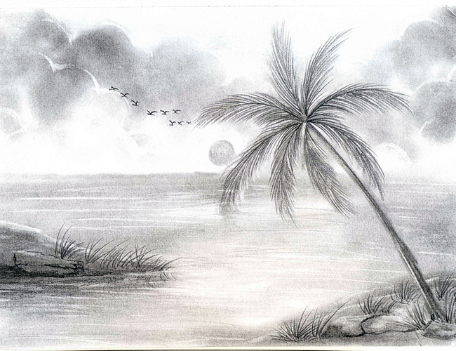 Simple Pencil Sketches Of Scenery Simple Pencil Sketches Of Scenery - Drawing Of Sketch