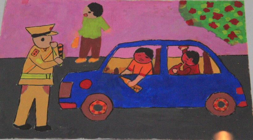 tranh vẽ cảnh sát giao thông thổi phạt người lái xe uống rượu