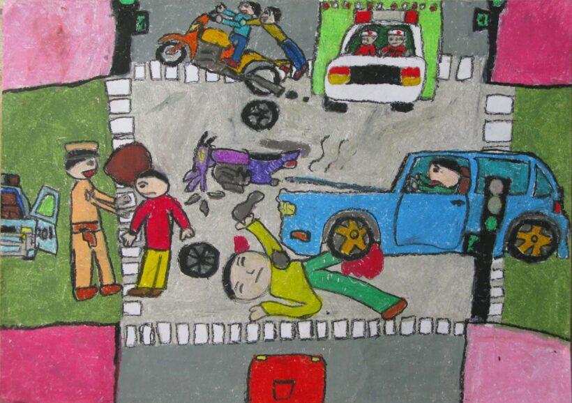 tranh vẽ cảnh tai nạn giao thông
